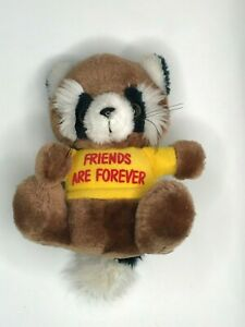 VINTAGE 1979 RUSS LUV PETS Raccoon Plush Stuffed Animal  FRIENDS ARE FOREVER t44