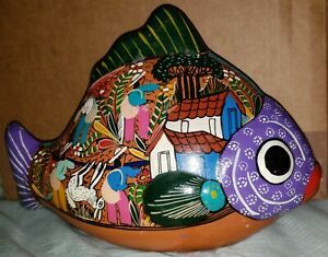 Vintage Handmade Handpainted Ceramic Red Clay Mexican Folk Art Fish Daily Life