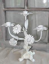 CHIC ANTIQUE, Kerzenleuchter 3 armig, Kerzenhalter, Shabby - Weiß, H: 30 cm