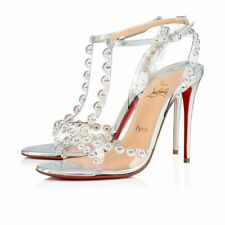 Christian Louboutin Faridaravie 100 Silver PVC Ankle Strap Sandal Heel Pump 38