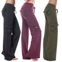Women's Loose with Pocket Stretch Drawstring  Casual Pants Yoga Pants Sweatpa wg