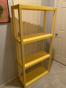 Vtg Space Age Plastic Yellow 4 Shelf Shelving Unit Shelves 1970-80s 5'