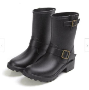 Womens casual hunting Rubber shoes Rain Boots Mid-Calf boot  Black Brown plus sz