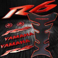 "Chromed Red Pro Fuel Tank Pad+6"" 3D Logo+Letter+YZF-R6/R6S Emblem Sticker Kit"