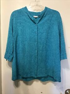 Erin London Turquoise Linen Fitted Blouse Floral Embroidery 3/4 Sleeves 2X