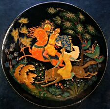 Russian hand painted lacquer from Palekh. Not a box-plate. Very beautiful work!