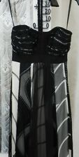 ( Ref 204 ) Monsoon - Size 8 -  Black / White Silk Evening Cocktail Party Dress