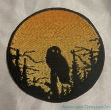 Embroidered Owl In Trees Sunset Silhouette Ombre Circle Patch Iron On Sew On USA
