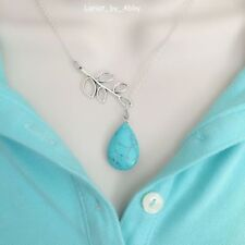 Beautiful Branch and Turquoise Teardrop Lariat Style Y Necklace.