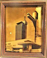 CENTURY OF PROGRESS ART DECO GOLD TONE-OROTONE, HALL OF SCIENCE-VERTICAL, MINT