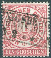 Norddeutscher Postbezirk 16 Freimarke 1 Groschen schön gestempelt
