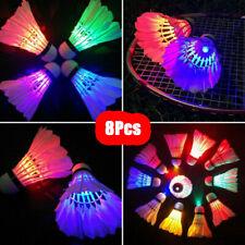 8 PACK LED Badminton Shuttlecock Balls Set Dark Night Glow Birdies Lighting Gift