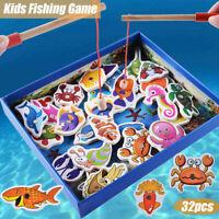 32Pcs Kids Pretend Fishing Game Wooden Magnetic Educational Preschool Toys