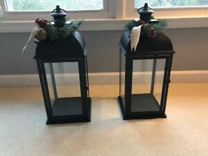 set of 2 24 inch Decorative Black Metal Lanterns, factory sealed, free shipping