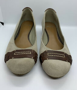 Clarks Natural Suede Brown Leather Trim Cushioned Comfort Ballet Pumps Shoes 6.5
