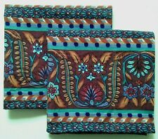 Atelier Martex KING SIZE Pillowcases (2) Floral Blue Teal Brown Pepperell