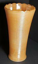 "Vintage Peach Luster Glass Vase 7.5"" Horizonal Rib Design Scalloped Rim Euc"