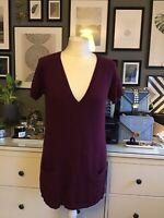 tara jarmon M 10 12 14 Tunic Dress Vest Jumper Knit Angora Berry Burgundy