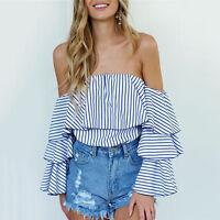 Fashion Women Ruffled Summer Sexy Off-shoulder Casual Blouses Crop Tops T-Shirt*