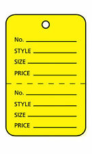 3000 Perforated Tags Price Sale 1 ¼ x 1 ⅞� Two Part Yellow Unstrung Tag Small