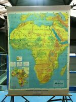 Vintage ORIGINAL Map, rare, AFRICA PHYSICAL AND POLITICAL MAP