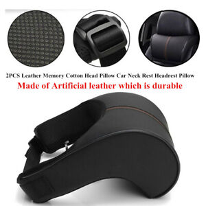 2PCS Leather Memory Cotton Head Pillow Car Neck Rest Headrest Pillow Protector