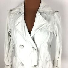 Gap Womens Rain Coat XS Beige Ivory Off White Long Buttons Jacket Cotton Blend