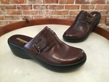 Clarks Brown Leather Delana Amber Lightweight Slip On Mule Clogs NEW