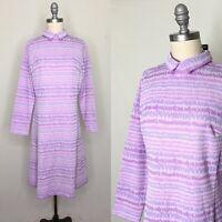 Vintage 60s David Crystal Mod Polyester Knit Shift Dress Size Large