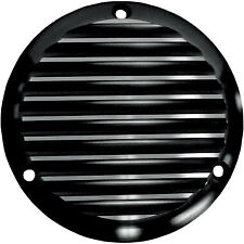 Black 3 Hole Finned Derby Cover for Harley Davidson Big Twins 1970-1998