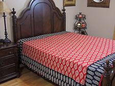 Red Paisley Floral Duvet Cover - Reversible Block Print Cotton Comforter Double