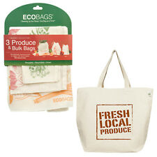 ECOBAGS® Fresh Local Produce Tote Bag +Set of 3 Reusable Produce & Bulk Bags