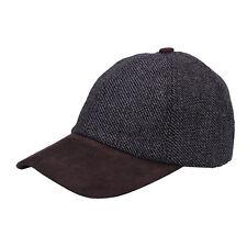 Heritage Traditions Womens Mens Grey Tweed Suede Baseball Casual Skip Cap Hat