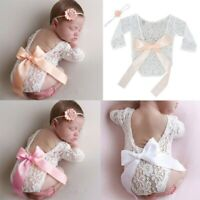 Newborn Infant Lace Sheer Costume Bodysuit Headband DIY Photo Photography Outfit