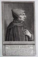 Gravure Antique print Portrait Girolamo Savonarola Jérôme Savonarole