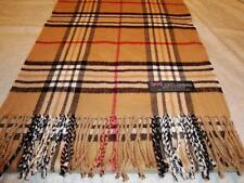 100% Cashmere Scarf Soft 72X12 Camel Beige Check Plaid Scotland Wool Women Wrap