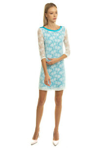 RRP€215 BYBLOS Shift Dress Size IT 40 / XS Lace Overlay 3/4 Sleeve Made in Italy