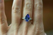 14k White Gold Over 4.10 Ct Blue Tanzanite & Diamond Solitaire Engagement Ring