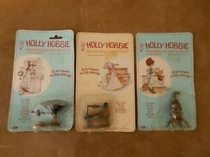 Vtg Holly Hobbie Miniature Diecast Lot Of (3) - Iron , Pot Belly Stove & Scale