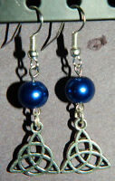 Blue Glass Pearl Silver Trinity Knot Earrings NEW Triquetra Celtic Pagan Knot