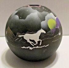 Sphere Southwest Bowl Vase HandPainted Horse Moon Stars Mountains1990 Spirit#78