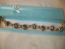 NOLAN MILLER Signed Bracelet SWEET HEARTS & HUGS 2 Tone Gold/Silver Great Gift