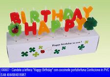 Set candele buon compleanno vari colori con scritta Happy Birthday