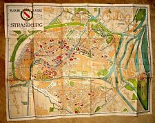 VINTAGE LOVELY MAP PLAN DE LA VILLE DE STRASBOURG BY J. FINK c.1950
