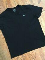 Mens Lacoste Chest Emblem Black Cotton V Neck Short Sleeve T Shirt 9, 4XL XXXXL
