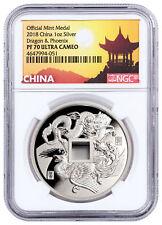 2018 China Dragon & Phoenix 1 oz Silver Proof Medal Ngc Pf70 Uc Pagoda 00004000  Sku52125
