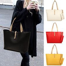 HK- Women's Big Shoulder Bag Faux Leather Handbag Buckle Clutch Messenger Nobby