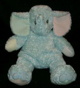 BABY BLUE PINK ELEPHANT RATTLE SASSAFRASS STUFFED ANIMAL PLUSH TOY FIRST & MAIN