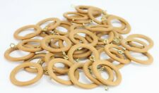 Pack 40 x Venice Antique Pine Finish Curtain Rings to suit 28mm dia Wooden Poles
