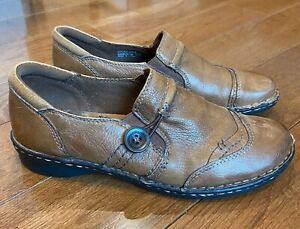 Women's Earth Origins Marietta Loafers Shoes Brown Leather Button 9M